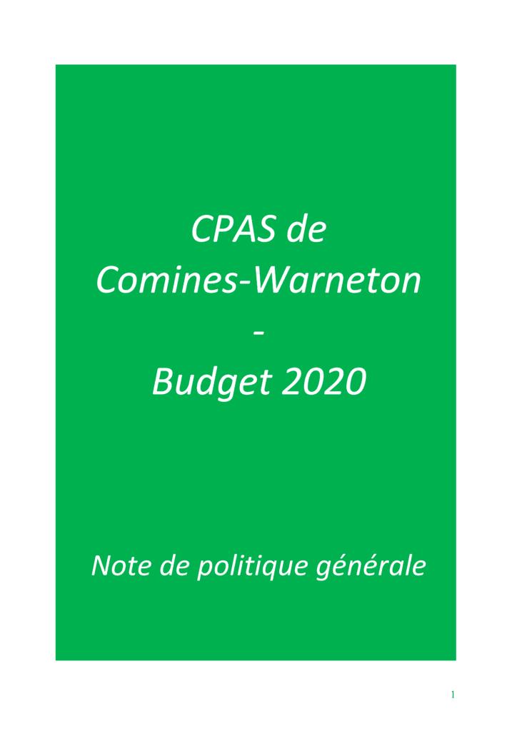 CPAS de Comines, budget 2020 (PDF)