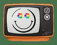 Ancienne télévision avec un bonhomme souriant sur l'ecran